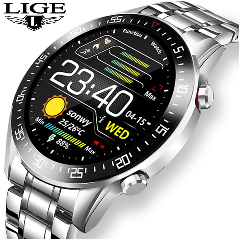 LIGE Luxury brand mens watches 2020 New Steel band Fitness watch Heart rate blood pressure Activity