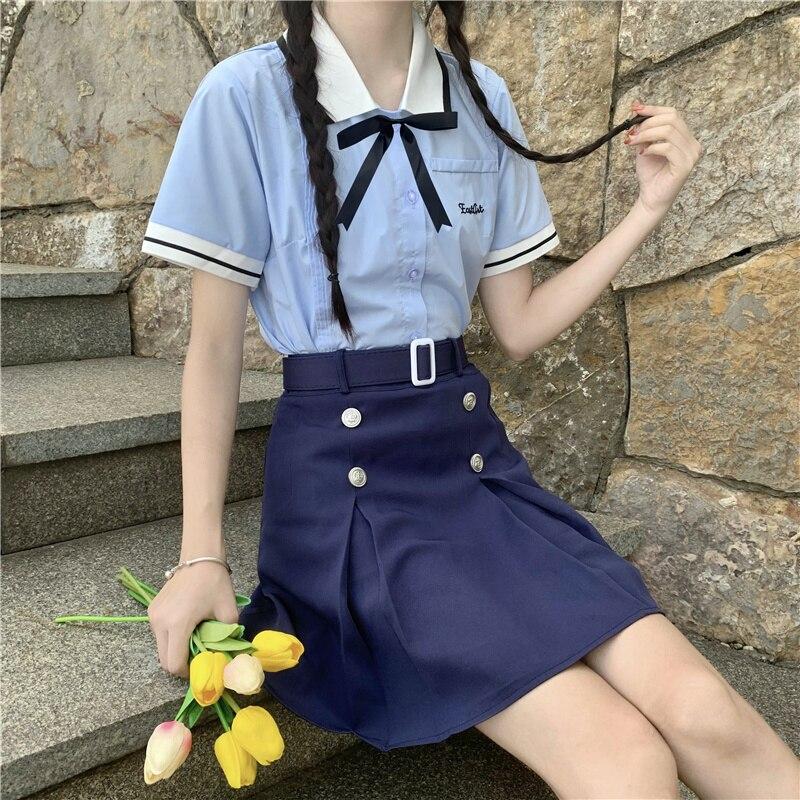 Skirts Sets Aurora East Pear Yigao Korean Thai College Style JK Uniform Suit School Uniform Shirt Sk