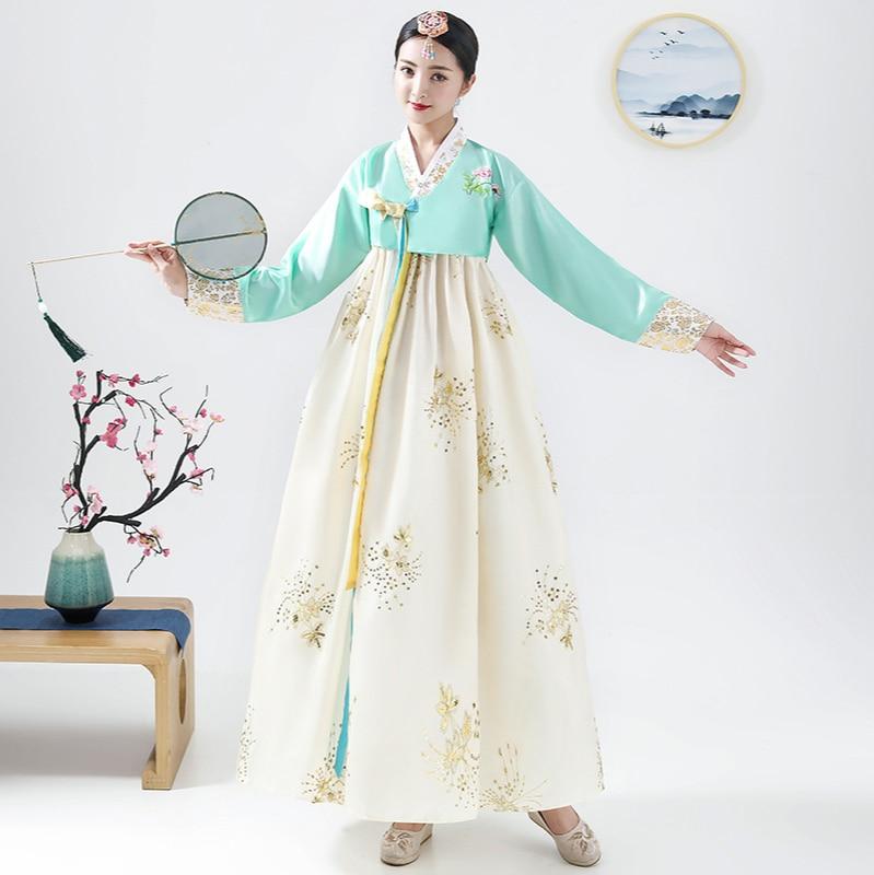 تنورة كبيرة مطرزة بالترتر ، زي قصر كوري تقليدي ، هانبوك ، زي رقص شعبي كوري ، فستان احتفالي ، مجموعة جديدة