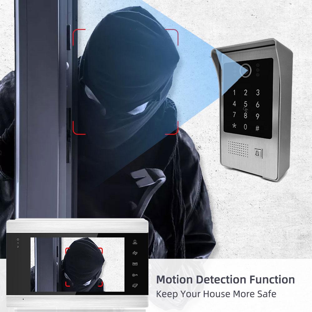7 inch WIFI Video Intercom System Waterproof Smart APP Sired Password RFIC Cards Unlock Camera Video Door Bell Doorbell System enlarge