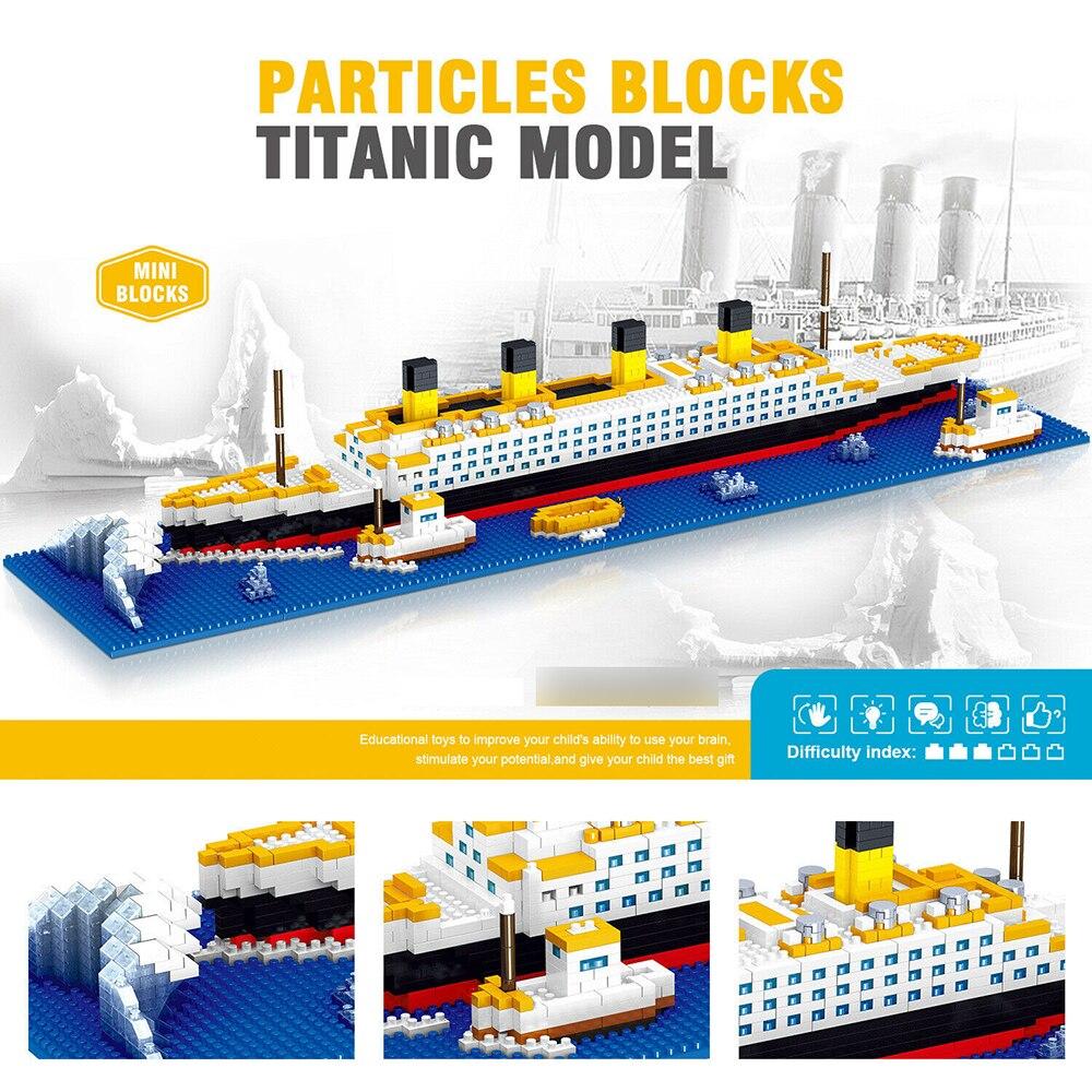 2338-шт-Титаник-корабль-Модель-Набор-строительных-блоков-diy-обучающие-игрушки-micro-кирпичи-пазл-творческая-доска-для-детей-и-взрослых