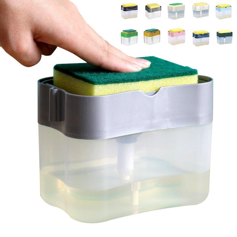 2 في 1 تنقية موزع المنظفات السائلة الصحافة من نوع صندوق الصابون السائل مضخة منظم المطبخ أداة لوازم الحمام