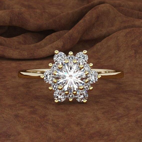 Anillo de lujo con forma de copo de nieve para mujer, anillo de piedra de circón con cristales en Color plateado, amarillo, rosa y dorado de 925, anillos de boda Vintage para mujer