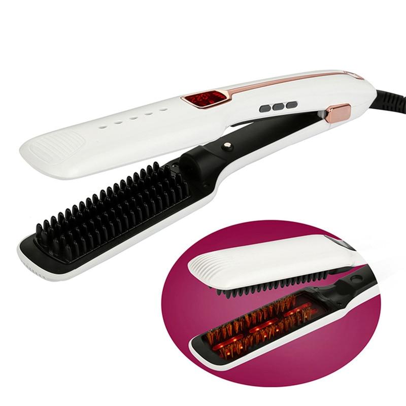 Plancha de pelo profesional, plancha infrarroja LED, pantalla Digital de temperatura, Cerámica turmalina plancha plana iónica para alisar el cabello