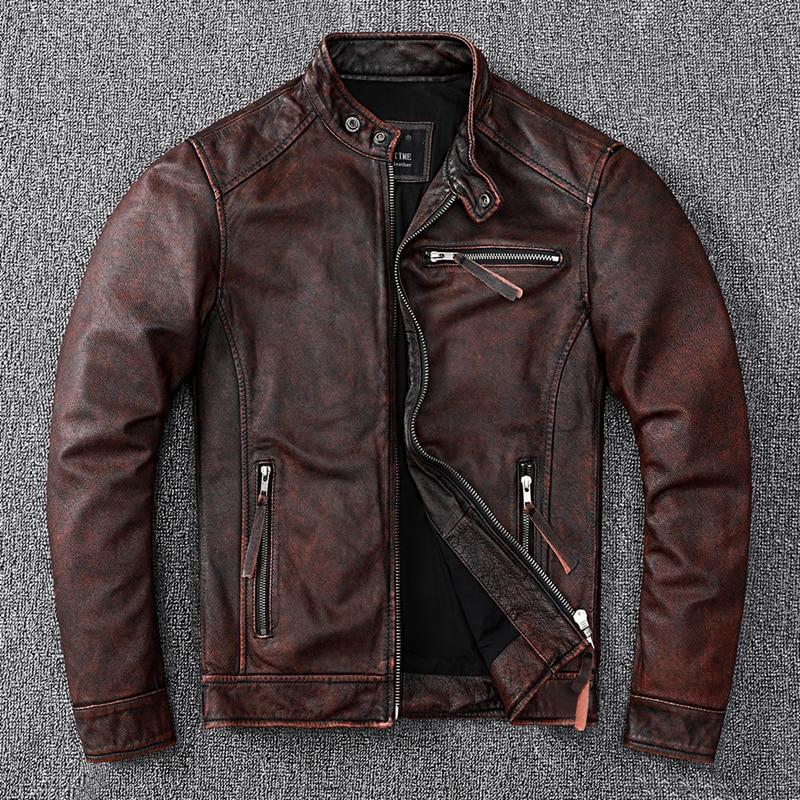 Vintage مصنع الرجال سترة جلدية سميكة 100% حقيقية جلد البقر السائق سترة ملابس رجالي تلائم الرجل النحيف دراجة نارية معطف الخريف الآسيوية