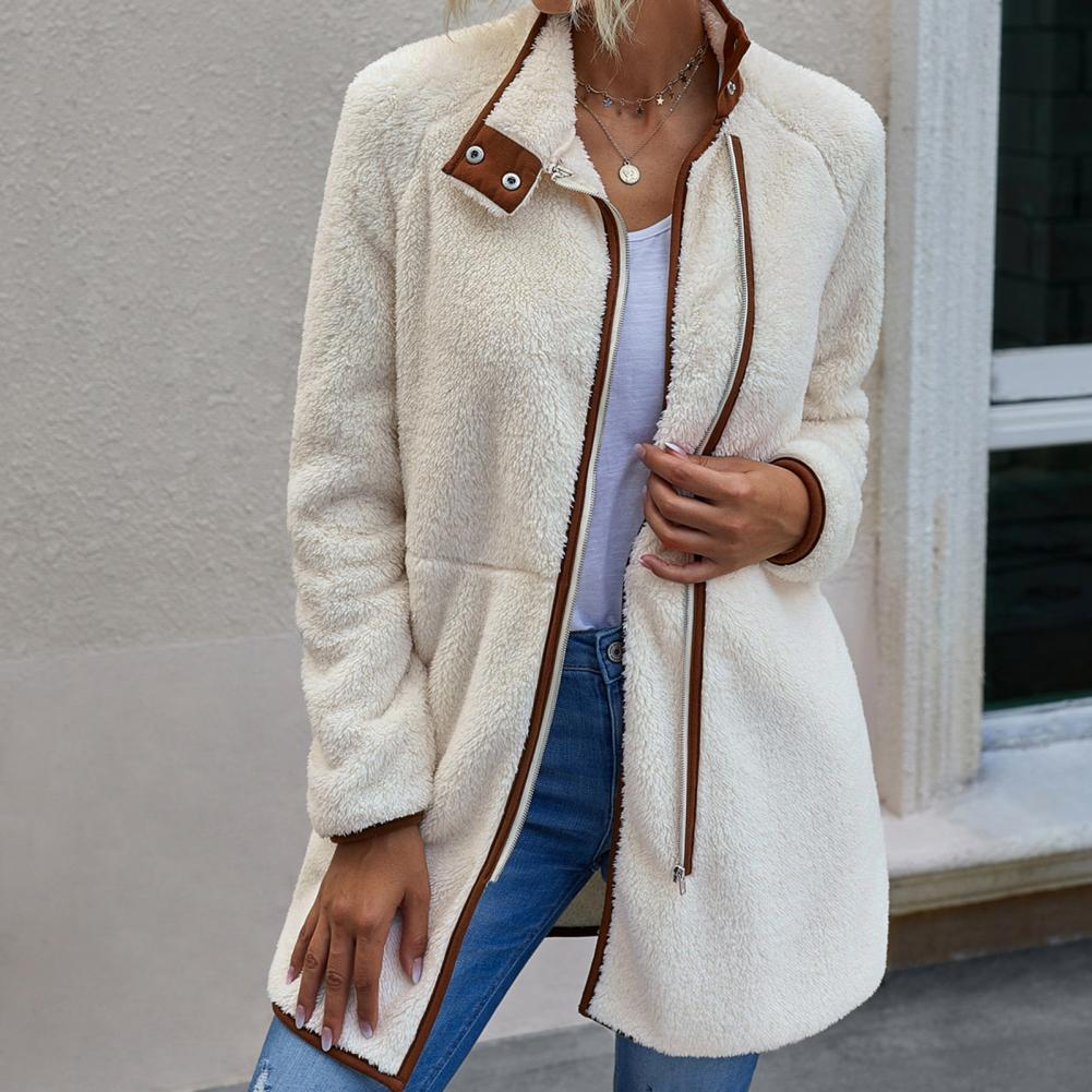 Women Long Sleeve Pocket Zip Coat Fuzzy Warm Winter Mid-length Jacket Outerwear Women's Clothing
