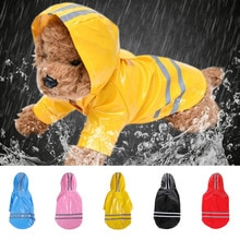 S-XL Pets Dog Clothes Hooded Raincoats Reflective Strip Dogs Rain Coat Waterproof Jackets Outdoor Br