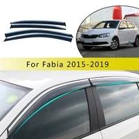 for skoda fabia 2015 2016 2017 2018 4pc abs car smoke window sun rain exterior visor deflector guard styling accessories