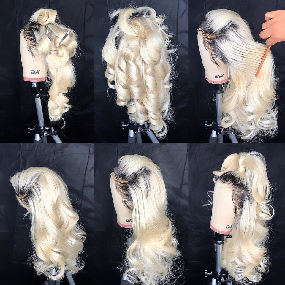 Body Wave Ombre Blonde 613 Lace Front Wig  T Part Transparent Lace wigs  Colored 1B/613 Human Hair Wigs for Black Women