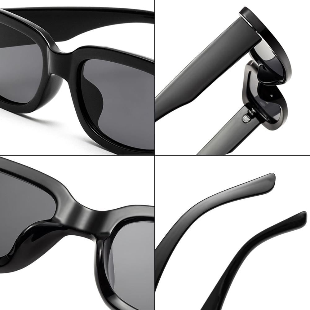 Women Vintage Square Narrow Sunglasses With Glasses Chain Men Luxury Brand Travel Sun Glasses Card Holder Lanyard Black Oculos