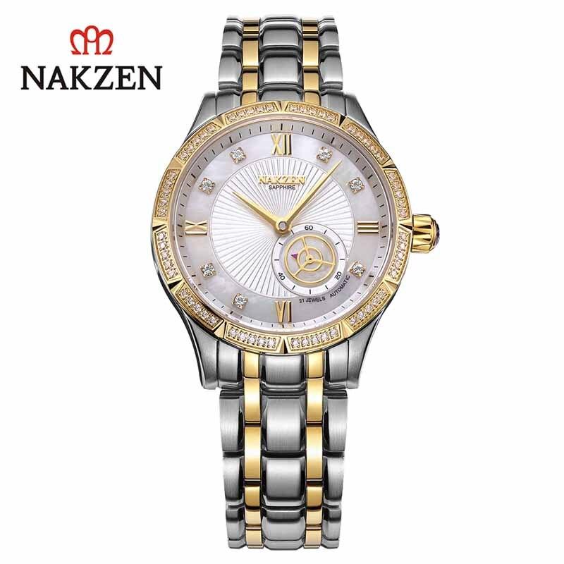 NAKZEN-ساعة ميكانيكية أوتوماتيكية للنساء ، ساعة يد من الفولاذ المقاوم للصدأ ، مقاومة للماء ، بيضاء