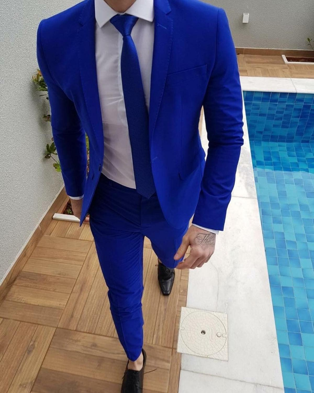 2020 Новое поступление Королевский синий костюм для выпускного жениха смокинг последние пальто брюки дизайнерские мужские свадебные костюм...