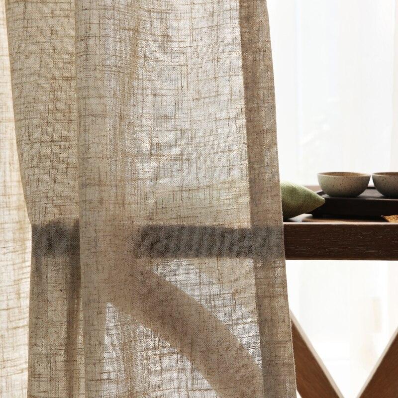 Cortina moderna de lino semi-sombreada de ramio, hilo de cáñamo nórdico de estilo chino, cortina de lino de algodón de color puro, hilo de cortina de gasa personalizado