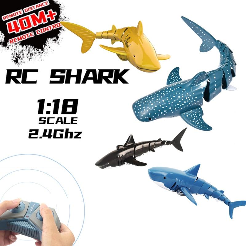 24g rc simulacao tubarao brinquedo nadar peixe a prova dwaterproof agua controle