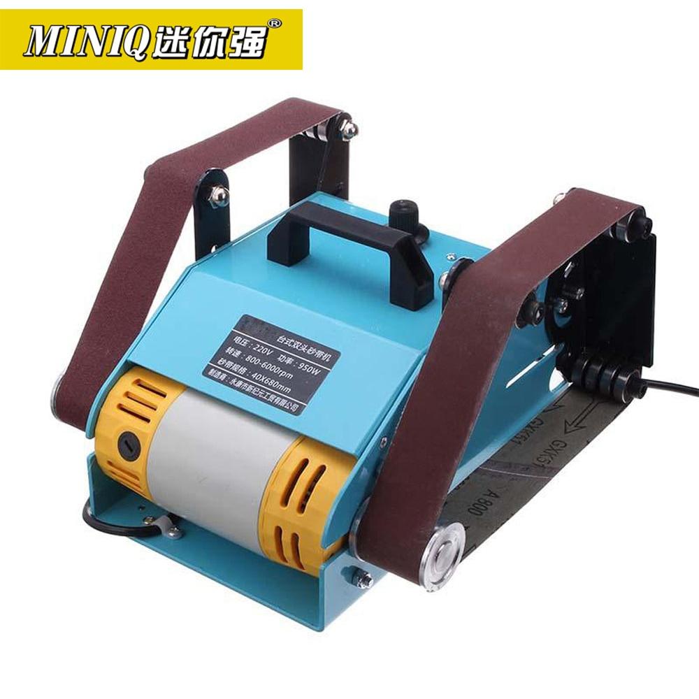 Miniq lixadeira multifuncional, 950w 220v, desktop, cinto duplo de eixo, máquina de moagem ht2423