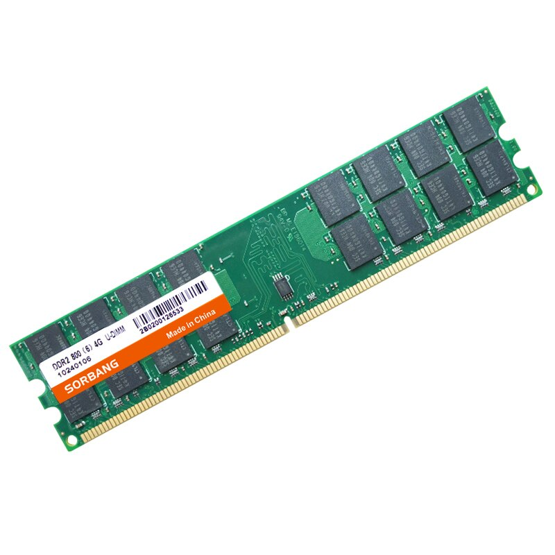 SORBANG RAM DDR2 4G 800 2PCS*4GB DDR2 8GB DDR2 800 MHZ PC2-6400 For Desktop Memory RAM 240 pins For AMD System High Compatible