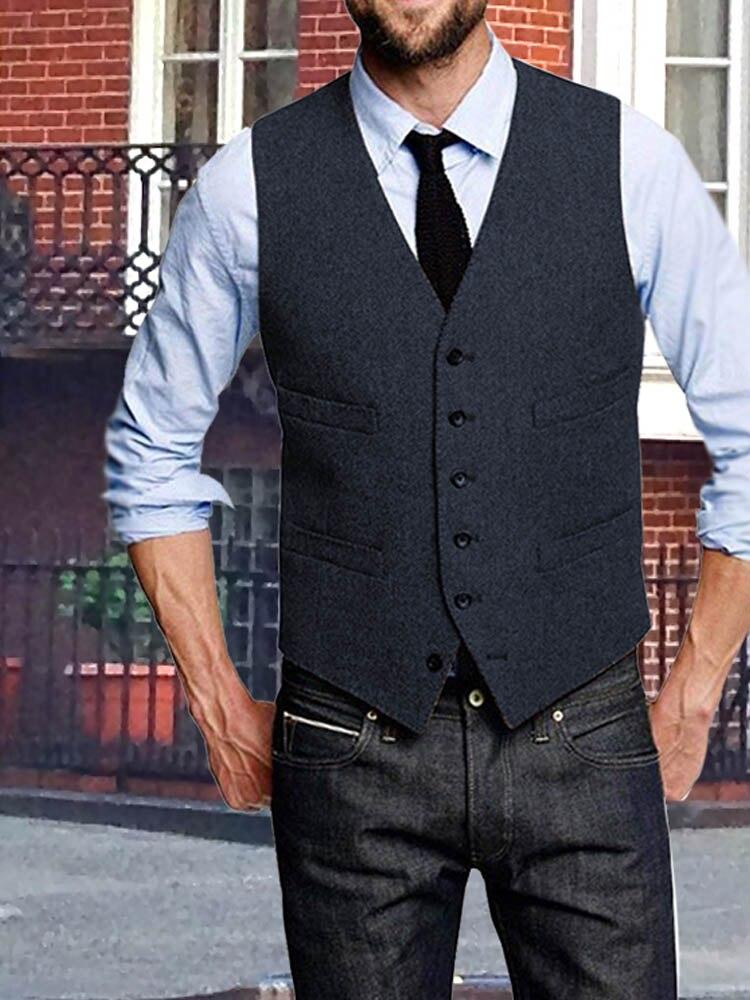 твидовый жилет мужской Мужско й твидовый жилет, шерстяной жилет с узором «елочка», приталенный деловой Повседневный жилет-смокинг для свад... мужской двубортный жилет с узором елочка