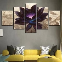 black lotus abstract flower 5 pcs canvas wall art painting poster home decor no framed