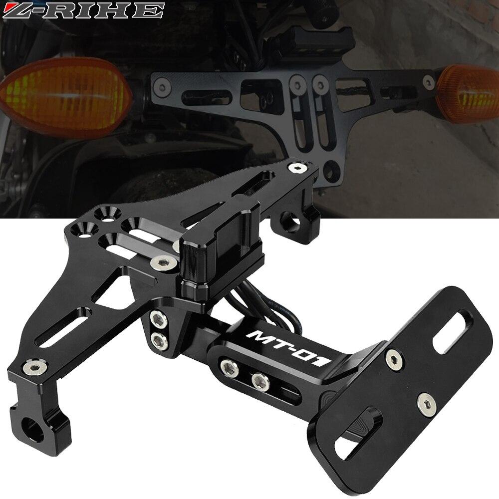 Motorrad Einstellbare Winkel Hinten Lizenz Nummer Platte Montieren Halter Halterung mit LED-Licht für Yamaha MT-01 MT01 MT 01 2004 -2012