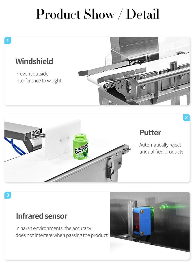 High Precision Checkweigher For Food, Pharmaceutical, Plastic Manufacturer With RejectSystem enlarge