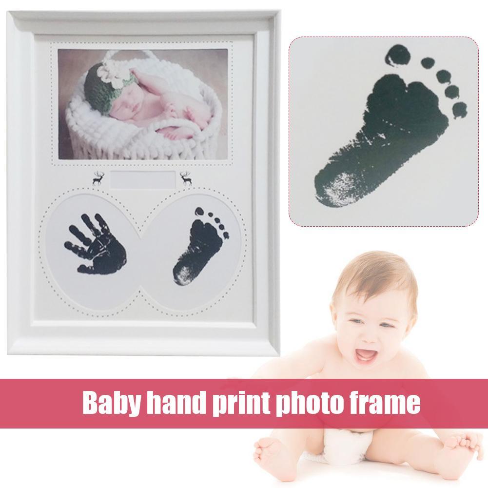 baby handprint footprint frame newborn footprint kit footprint child special gift for births and baptisms safe clean non toxic Baby Handprint Footprint Photo Frame Kit For Newborn Boys And Girls