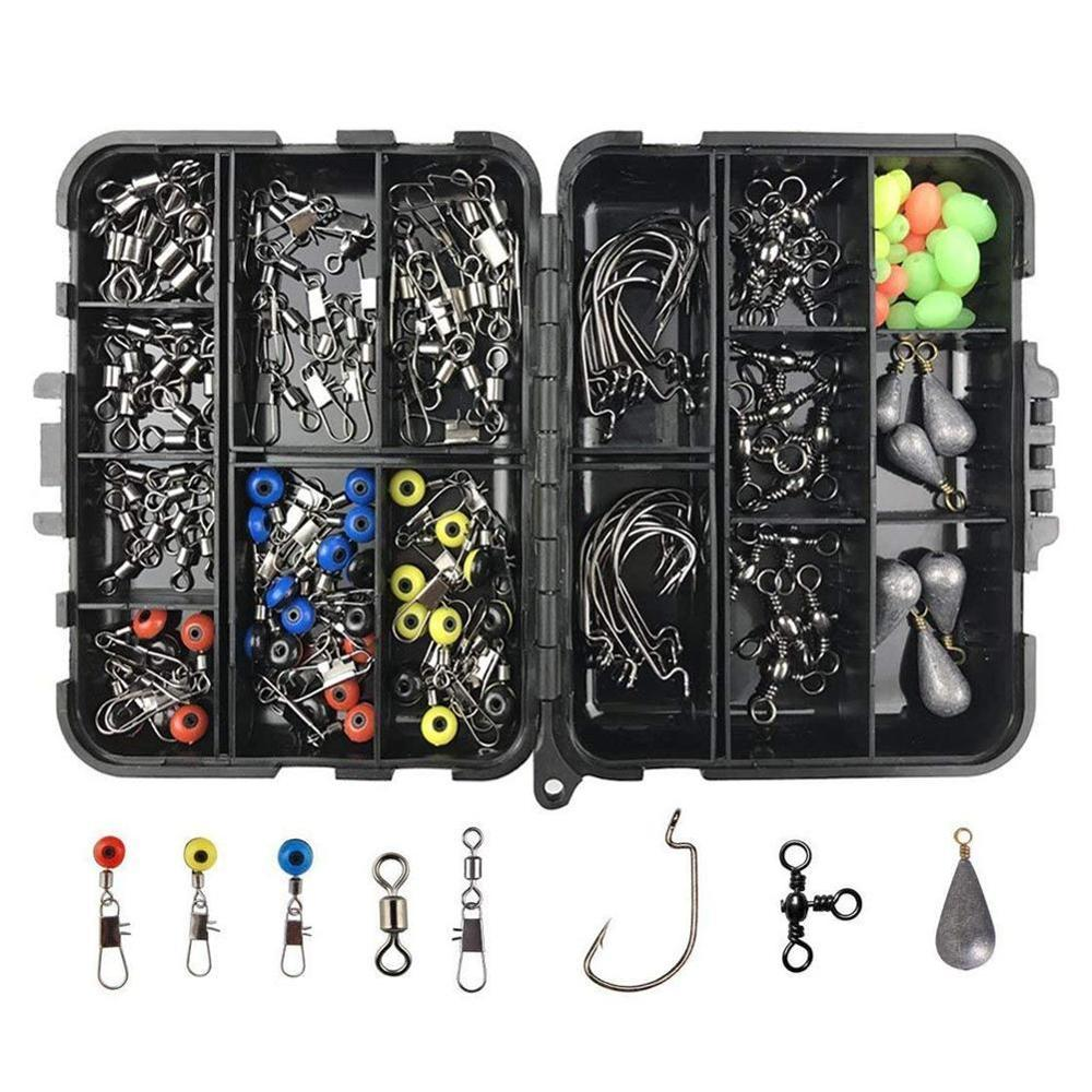 160 pièces/boîte Accessoires De Pêche Kit Comprenant Crochets de pêche leurre Plomb poids Émerillons de pêche Snaps avec boîte de matériel de pêche
