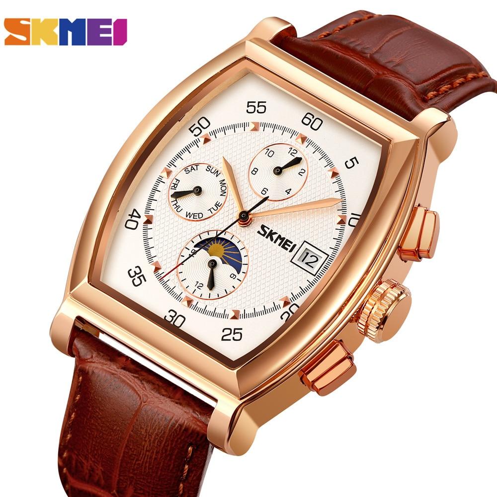SKMEI العلامة التجارية الذكور ساعات آلية الأعمال الموضة ساعة اليد ساعات المعصم مقاوم للماء الفاخرة التلقائي ساعة معصم الرجال هدية