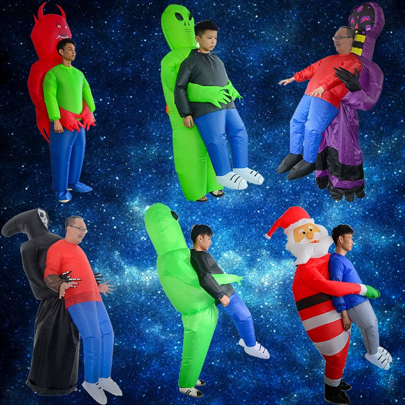 alien inflatable halloween costume party fancy dress suit costume alien clothing halloween funny for adult kids Halloween Gifts Kids Cosplay Costume Adult Green Alien Inflatable Costume Cosplay Costumes For Party Festival Inflatable Toys