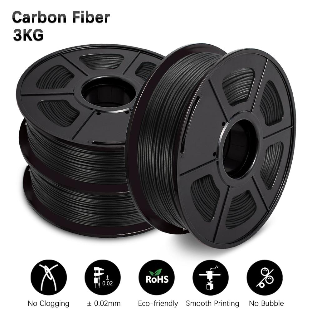 GOHIGH3 Rolls PLA Carbon Fiber Materials 1.75MM 2.2LBS High-Modulus Black Color Good Adhesion 3D Printer Filament