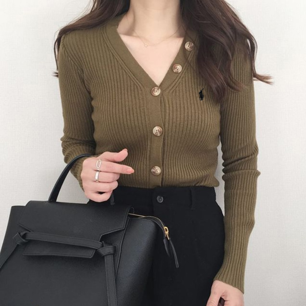 Women's Sweater 2021 New Fashion Ladies Solid Color Skinny Fit V-neck Top Korean Style Blouse Long-s