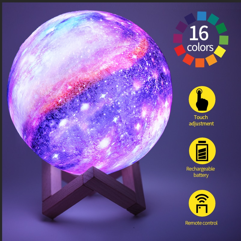 3D Printing Moon Lamp LED Colorful Change Touch Home Decor Creative Gift Usb Night Light Galaxy Lamp