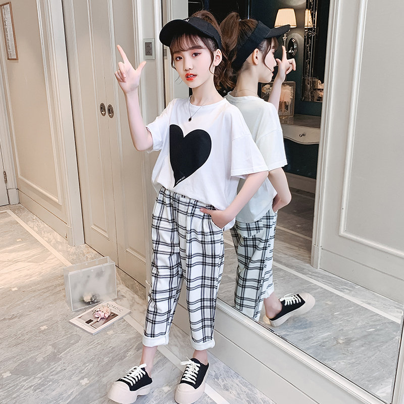 AliExpress - Teenagers Clothing Sets Summer New Fashion Girls Short Sleeve Heart T-Shirt + Casual Plaid Pants 2Pcs Cotton Children's Clothes