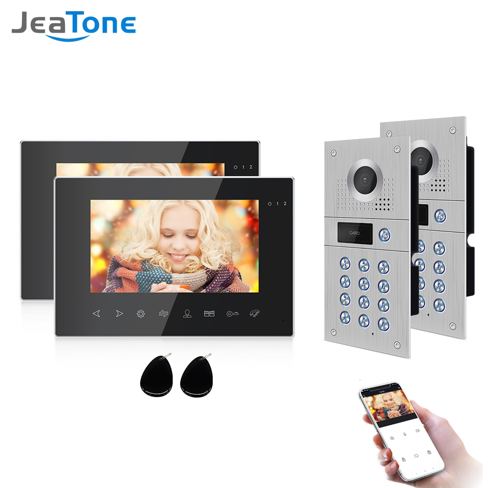 Jeatone WiFi Video Intercom System Kit IP Video Door Phone Unlock Doorbell Camera 7inch 960p Screen Monitor for Home Security
