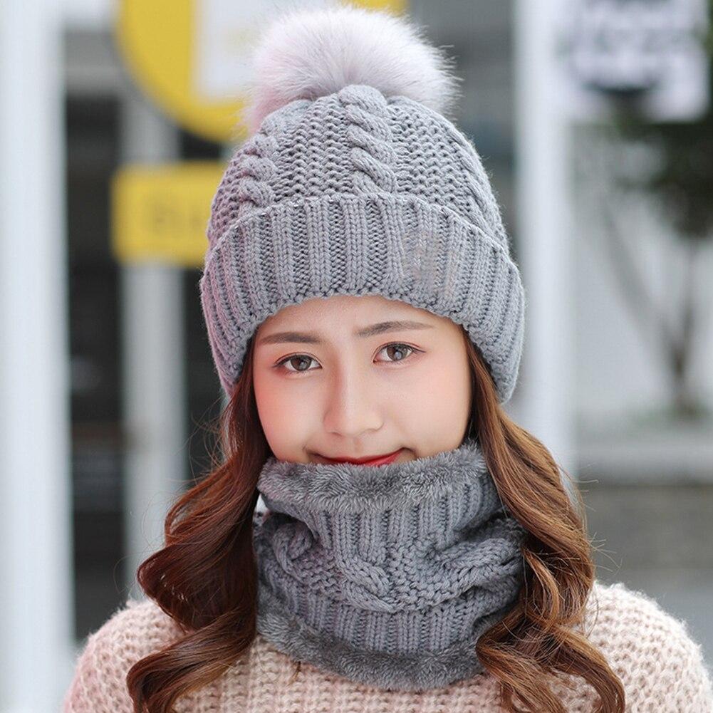Women Hat Scarf Set Knitting Soft Beanie Home Winter Shopping Keep Warm Ski Cap Fleece Faux Fur Slouchy Baggy