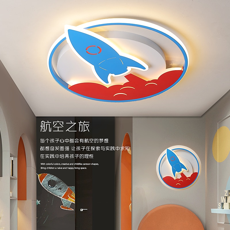 Childrens lamp modern led ceiling Lights designed for boys girls bedroom study childrens room cartoon rocket lamp ceiling lamp