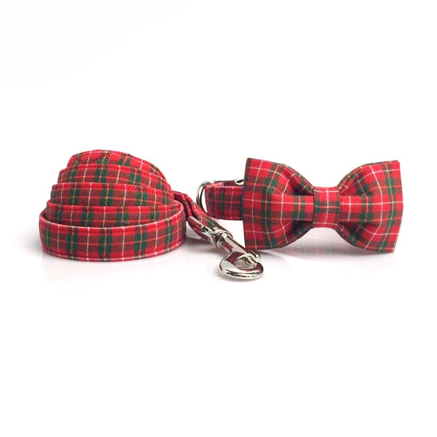 Collar de perro con pajarita, hebilla de Metal de cuadros rojos de Navidad, Collar de perro grande y pequeño, Collar de perro y Correa, conjunto de accesorios para mascotas