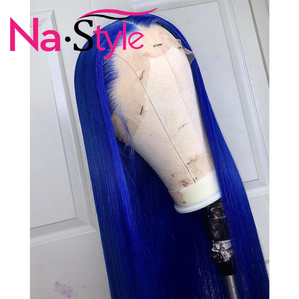 Blue Wig Colored Human Hair Wigs Transparent Lace Brazilian Human Hair Wig Sale Natural Hair Wig 100% Brazilian Hair Wigs Remy