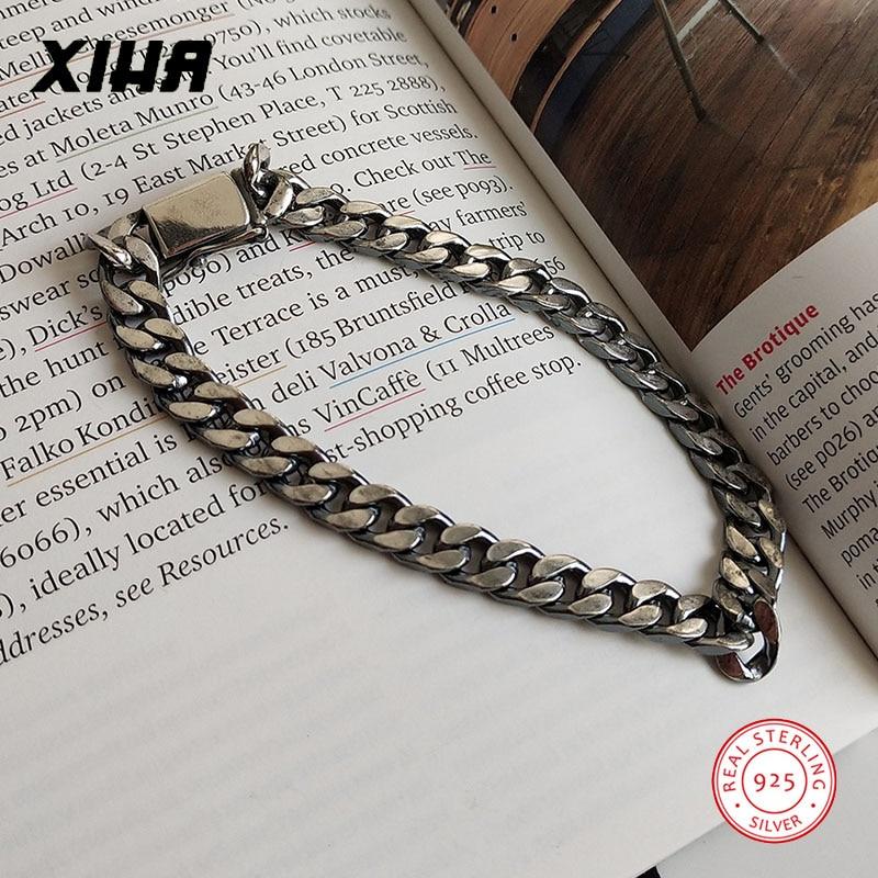 925 Sterling Silver Bracelets for Women Men 2020 Cuban Link Chain Couple Bracelets for Lovers Luxury Korean Minimalist Jewelry
