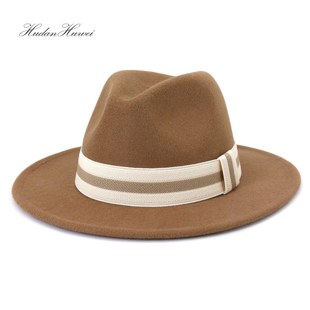 New Men Women Fashion Jazz Panama Woolen Felt Fedora Hat Solid Flat Wide Brim Elegant Church Party C