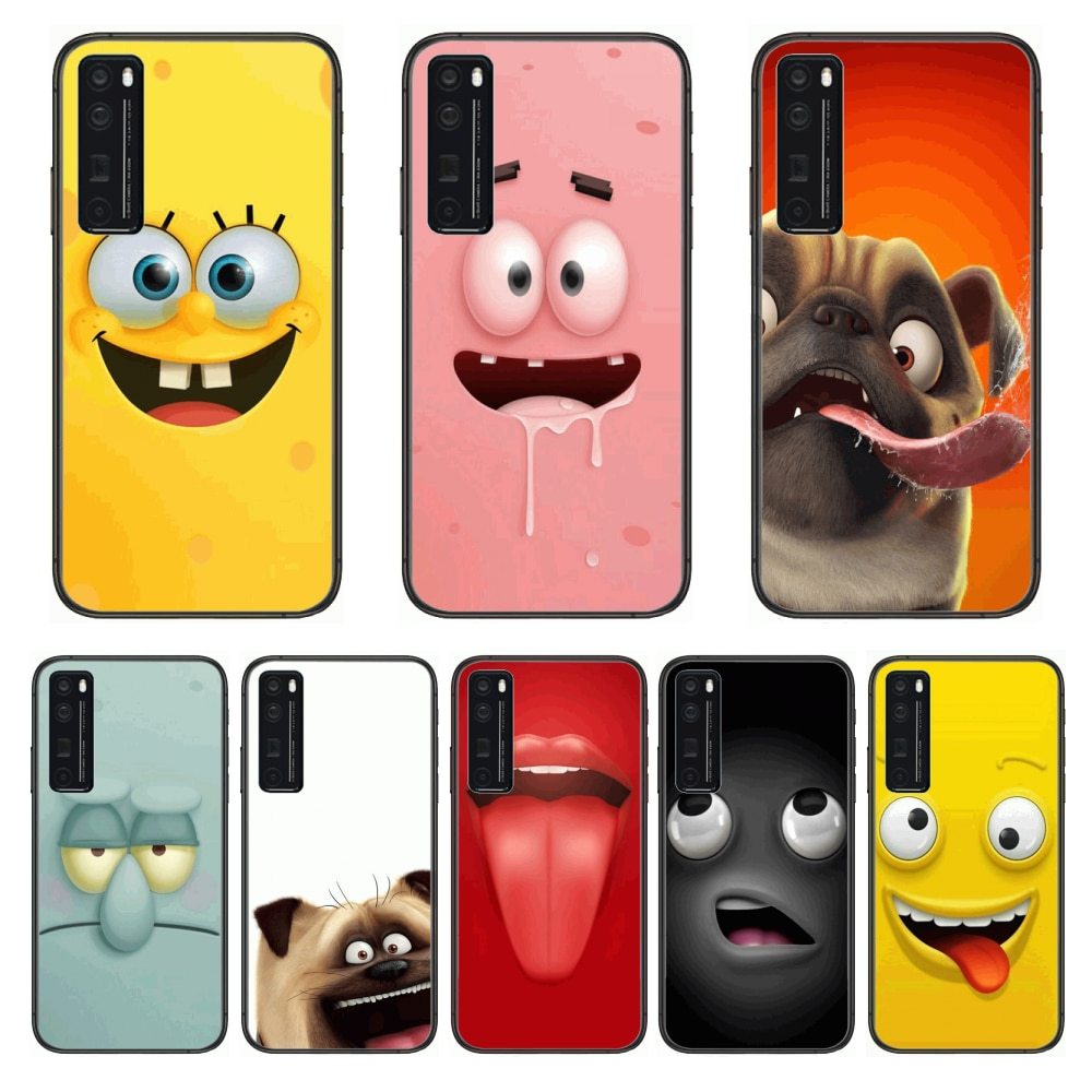 Funny Expression Anime  Phone Case For Huawei Nova p10 lite 7 6 5 4 3 Pro i p Smart ZBlack Etui 3D Coque Painting Hoesje