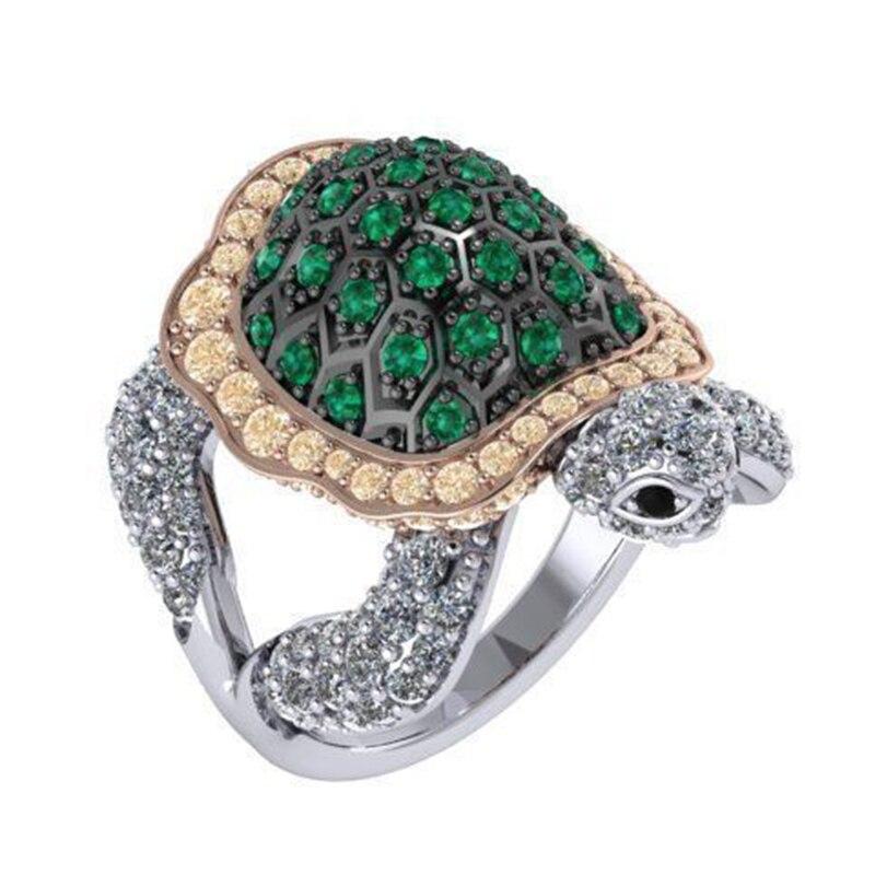 Joyería bohemia de moda de playa anillos tortuga de cristal de Zirconia cúbica verde para mujeres anillos lindos de animales regalo para niñas D5M624