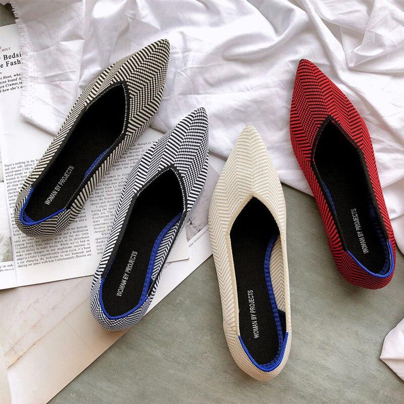 Zapatos planos de ballet puntiagudos para mujer, mocasines de lana suave con suela 3d para embarazadas, mocasines para mujeres, zapatos de barco informales, alpargatas planas