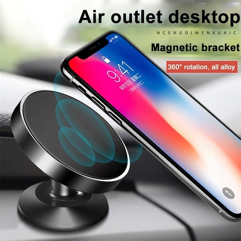 Phone Holder Universal Car 360 Degree Magnetic Air Vent Mount Mobile Smartphone Stand Magnet Support Cell Cellphone  in Car GPS