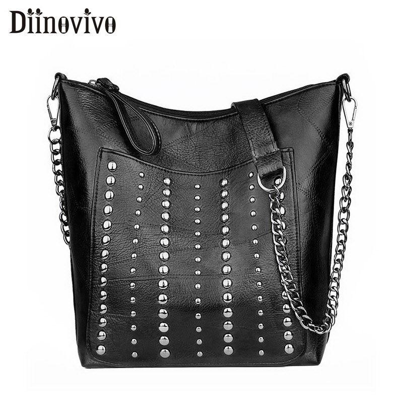 DIINOVIVO Vintage Bag Women Shoulder Bags Punk Rivet Bucket Bag Handbag Lady Casual PU Leather Crossbody Bags Female WHDV1387