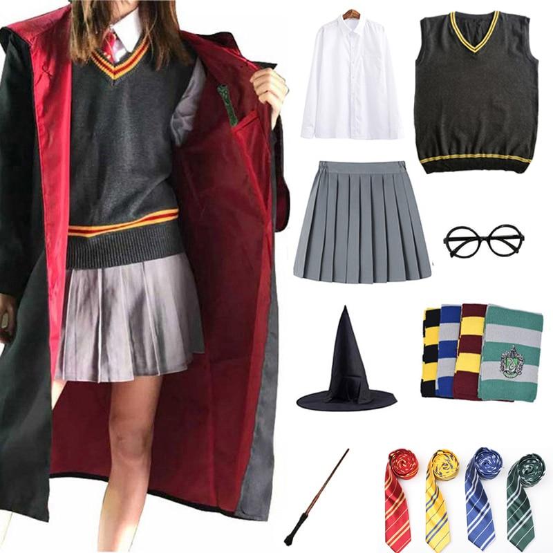 Magic School Cosplay Costume Cloak Robe Scarf Tie Scarf Shirt Skirt Sweater Cosplay Clothes Hallowee