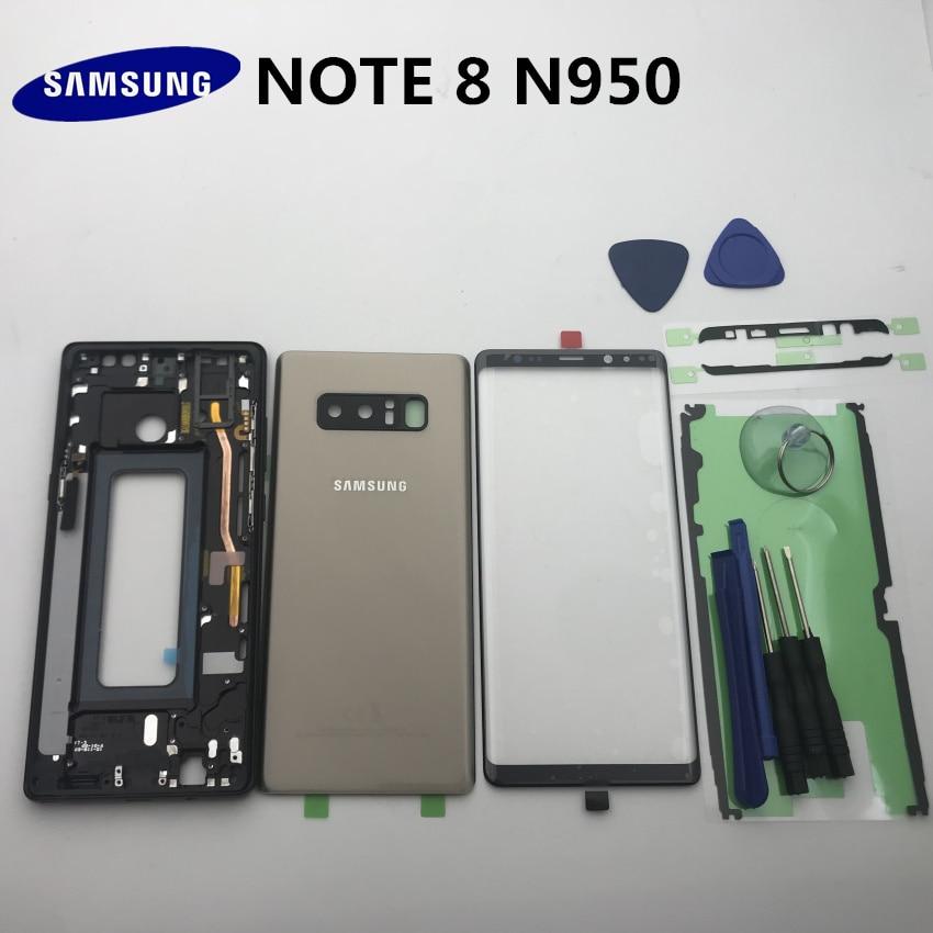 غطاء خلفي كامل لهاتف Samsung Galaxy Note 8 ، واقي شاشة زجاجي أمامي ، وإطار مركزي ، وجزء الخريف ، Note 8 N950 N950f