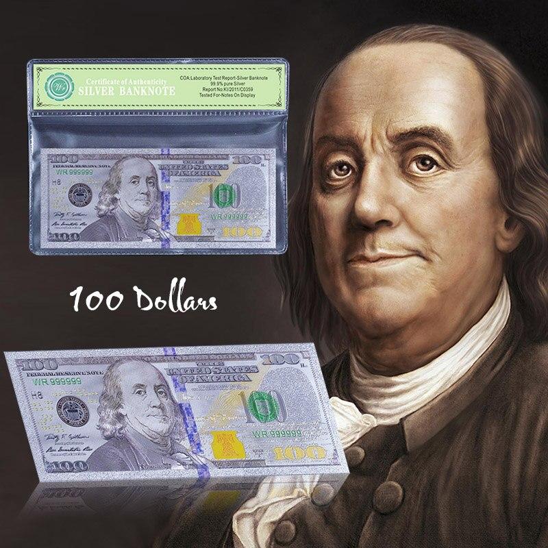 Billete de Estados Unidos Chapado en plata de color nuevo billete de moneda de 100 dólares dinero falso para regalo de colección