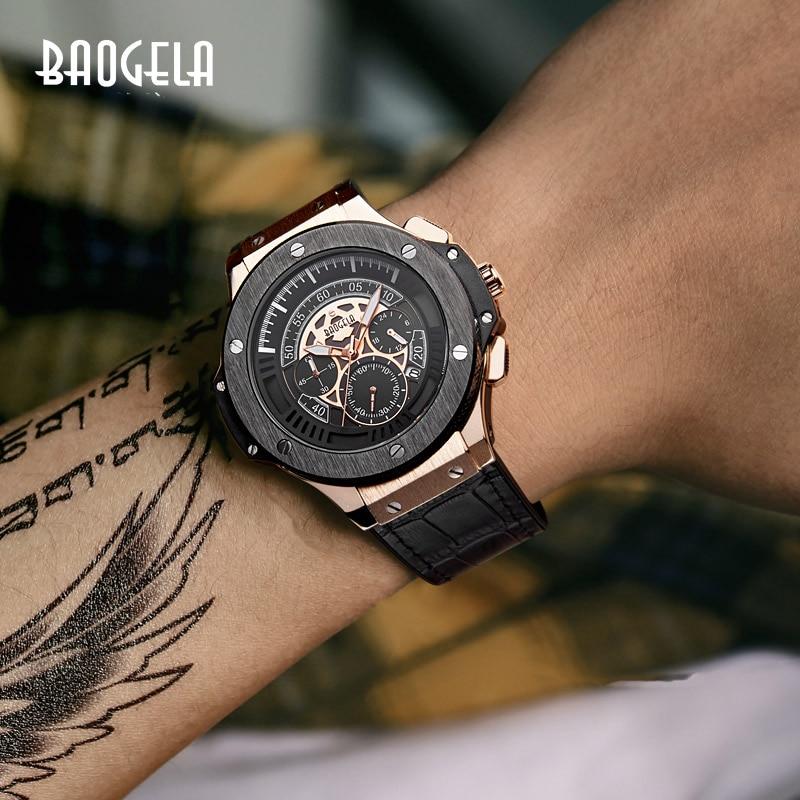 ساعة يد رجالية كوارتز رجالية من BAOGELA ساعة يد رياضية من اللون الوردي مع سوار من أجل hommes1910