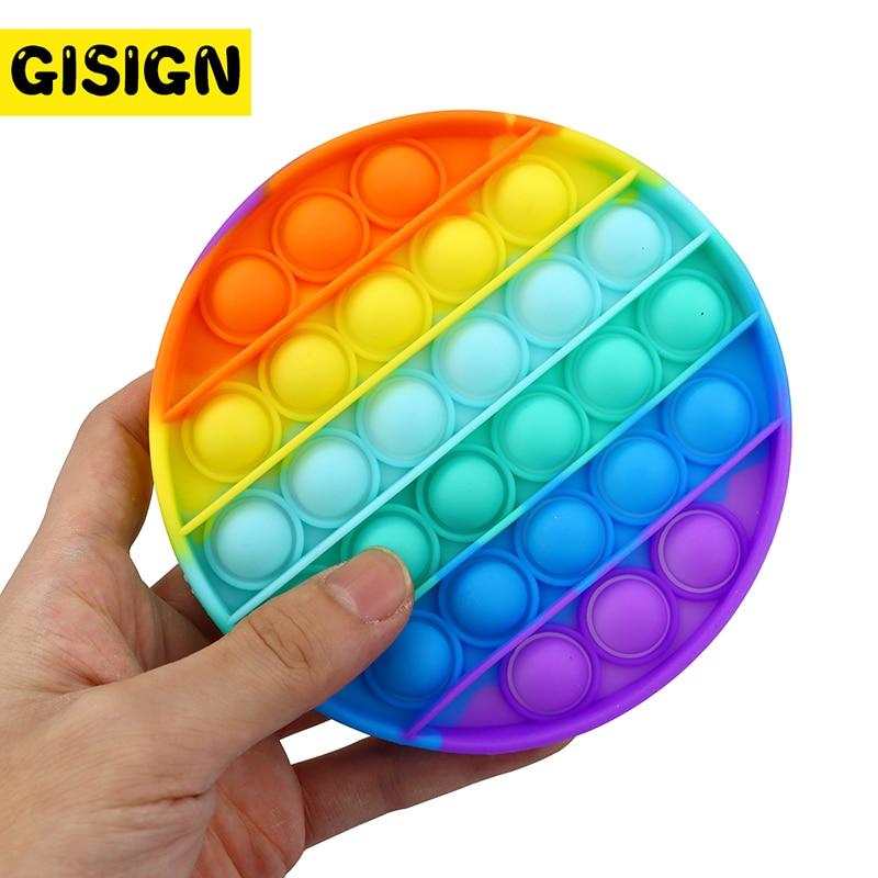 קשת פופ זה לקשקש צעצועי לדחוף בועה לחץ אנטי צבעוני חושי רטוב משכך צעצועים למבוגרים ילד Antistress Reliver
