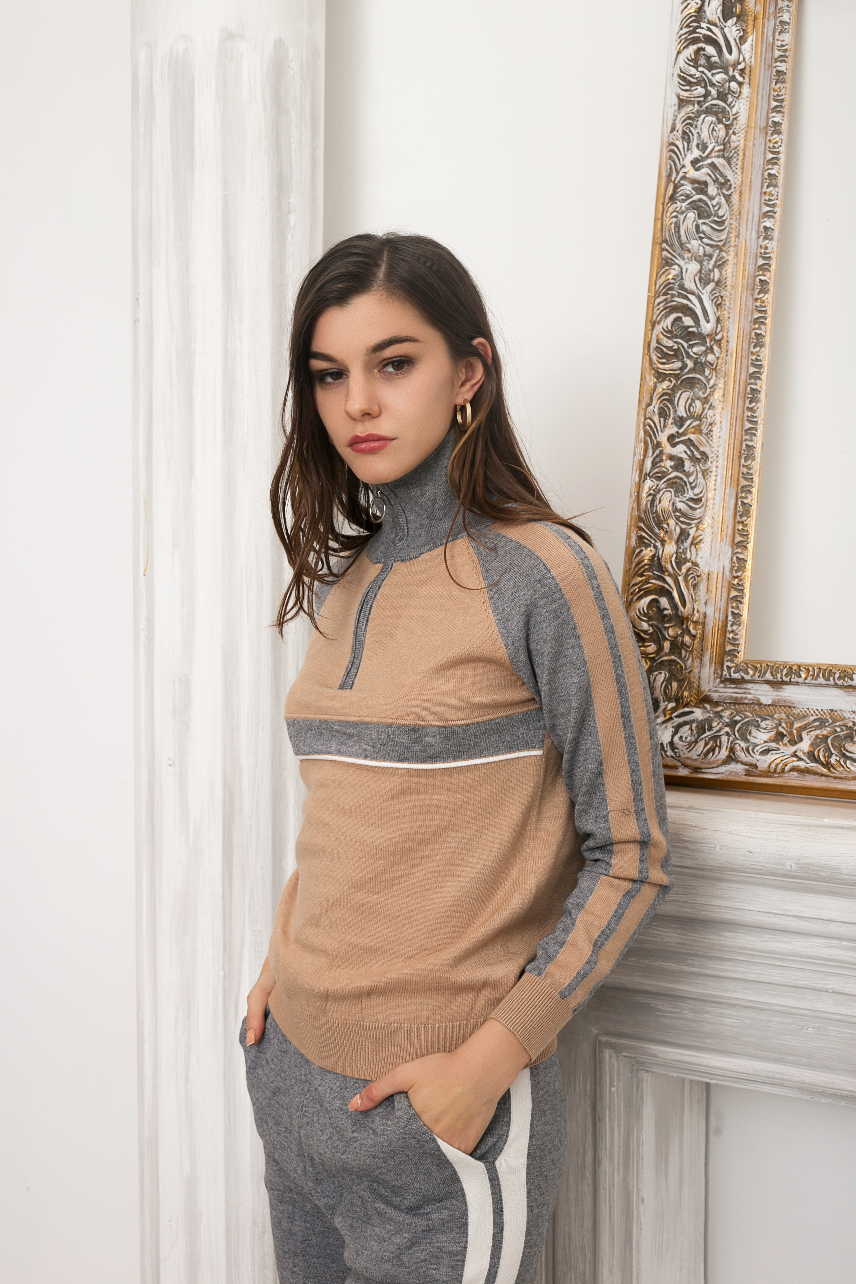 Cashmere Knitted Warm Suit Color collision Sweater Cashmere Straight cylinder Style Pants Two-piece Set Knit enlarge